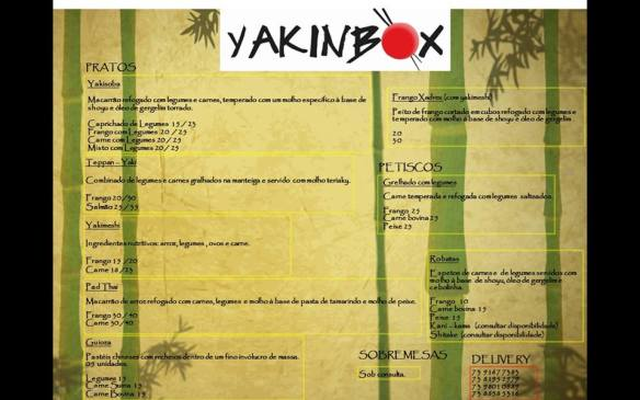 Menu do Yakinbox